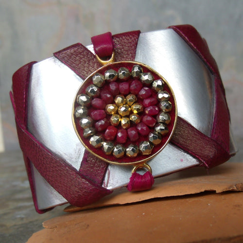 BAM. Ruby and pyrite cuff