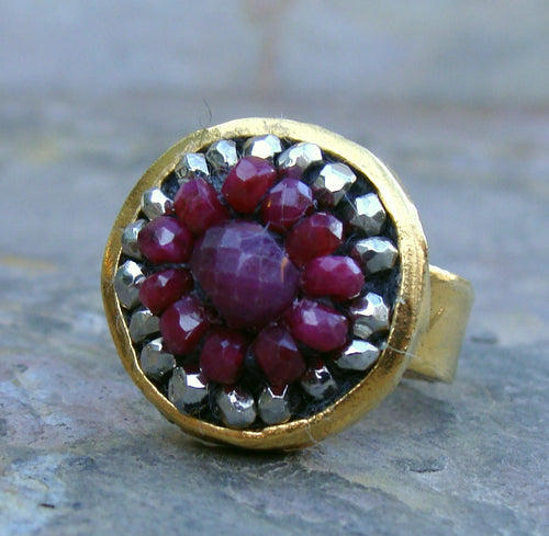 Lady in Red ruby and pyrite mosaic ring