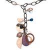 Rhodocrosite, London Blue Topaz, Hand Hammered Copper multi necklace