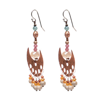 Hammered Copper and Sapphire Lovely Dangles Earring