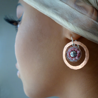 Pink Sapphire and Labradorite Mosaic earring
