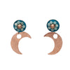 Fly Me to the Moon Aquamarine, Rose Gold, and Copper earring