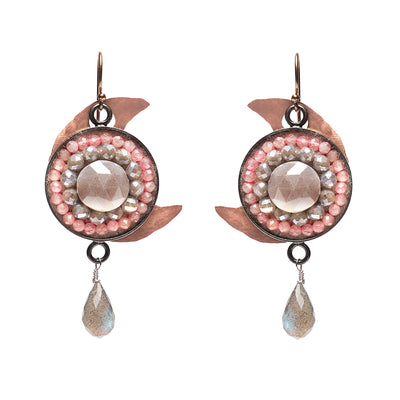 Silverite, Peach Moonstone, and Copper Moon Mosaic ear
