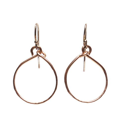 Rose Gold Hand Hammered Hoops