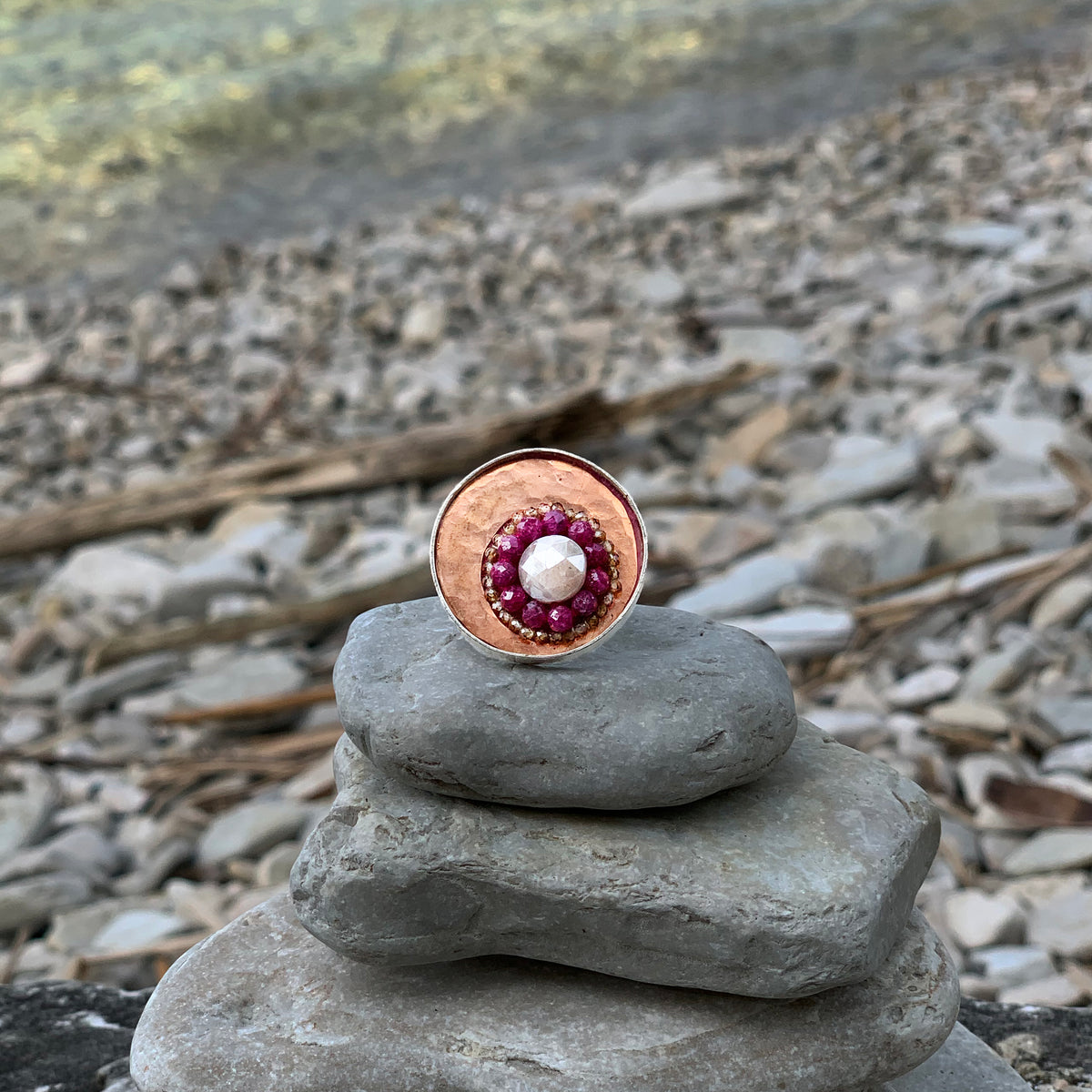 Copper, Ruby and Sapphire Mosaic Ring