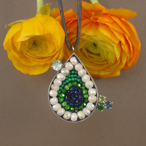 Aquamarine, Pearl, Sapphire, and Diamond Mosaic Teardrop Pendant Necklace