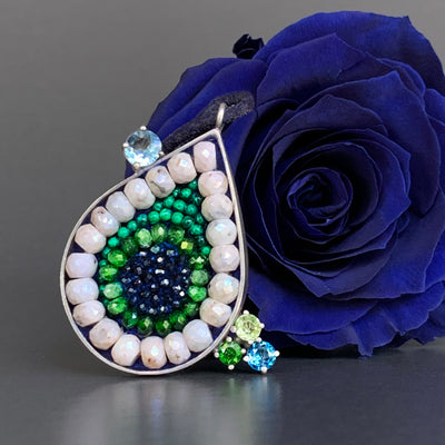 Blue Sapphire, Chrome Diopside, and Emerald Teardrop Necklace