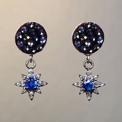 Blue Sapphire and Diamond mosaic post ear
