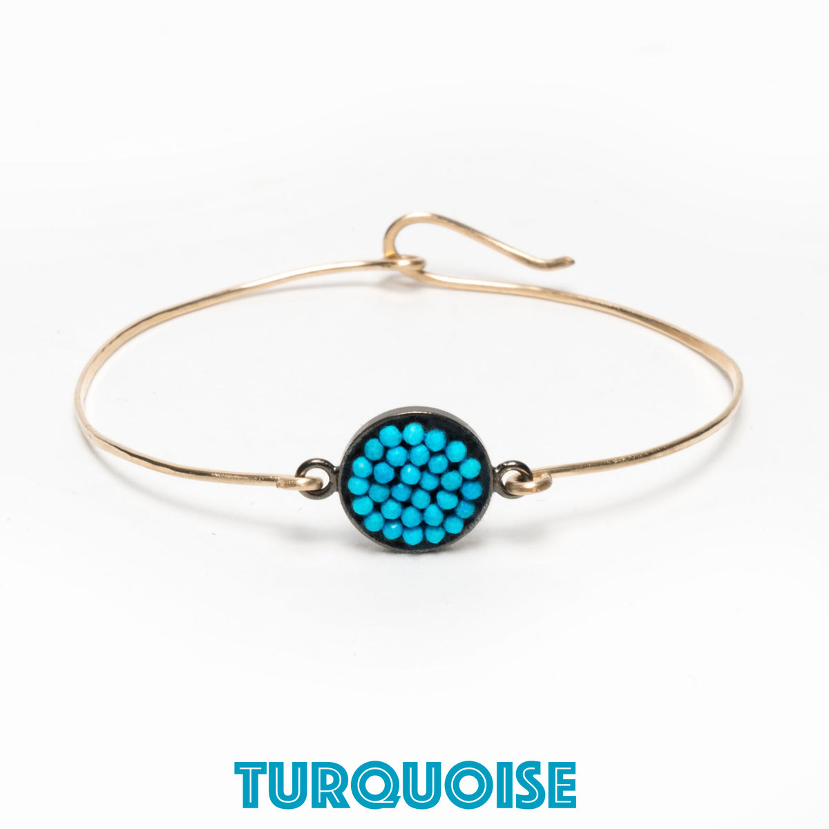 Mosaic bangle: PICK your stone, PICK hand hammered Gold or Silver