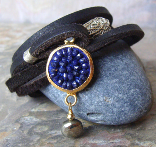 Blue sapphire and leather wrap bracelet