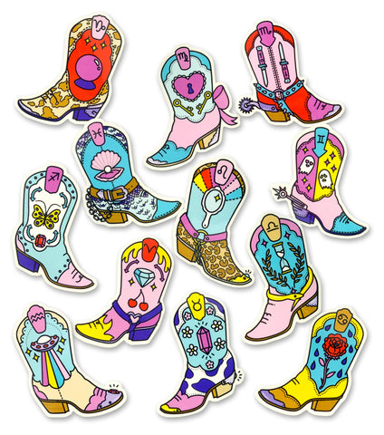"ZODIAC BOOTS 2.5"" sticker - 12 STYLES TO CHOOSE FROM!"
