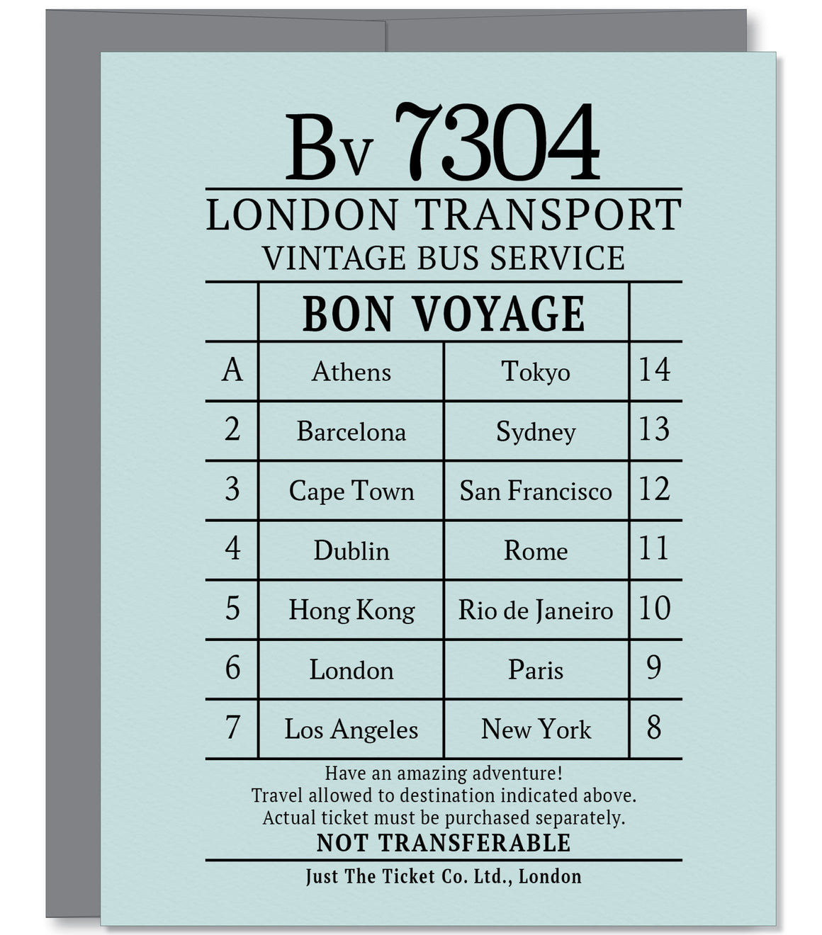 Bon Voyage Amazing Adventure Ticket Greeting Card