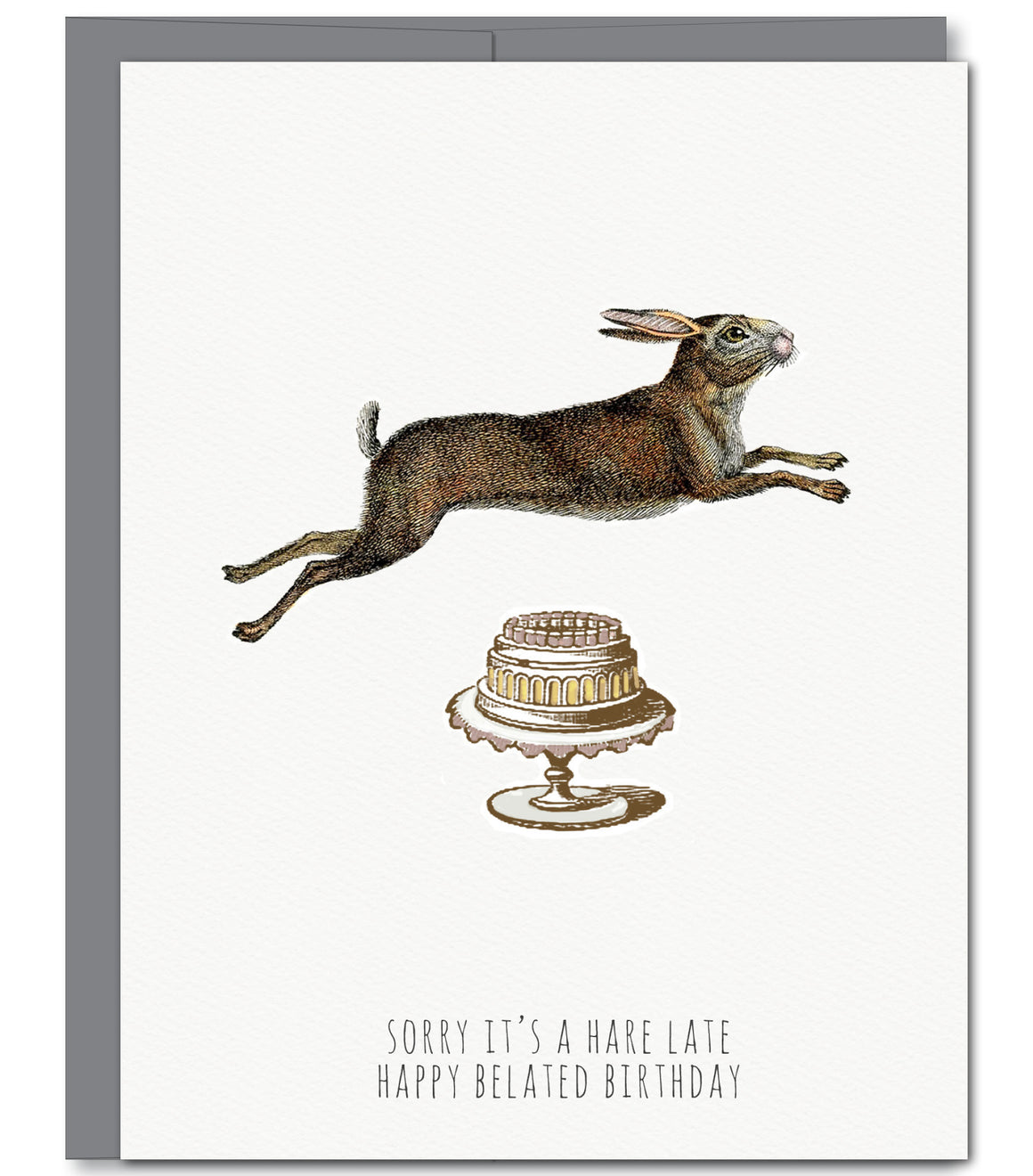 Hare Belated Birthday Glitter Greeting Card | Sylvan Gate Design