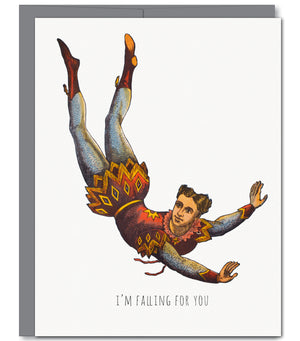Circus Diver Love Glitter Greeting Card | Sylvan Gate Design