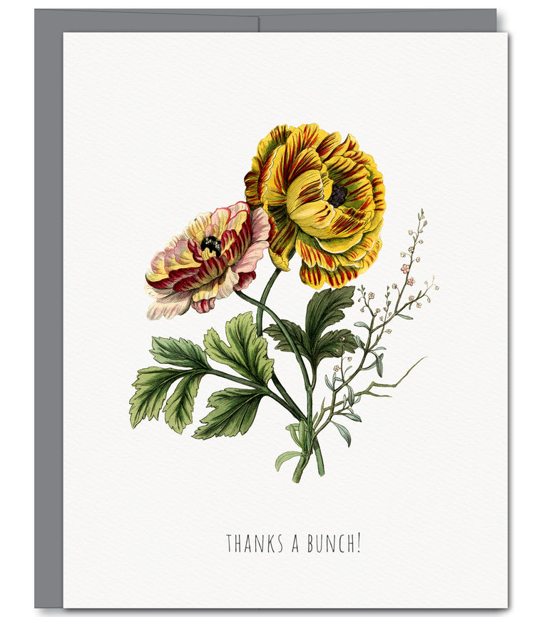 Floral Thank You Glitter Greeting Card | Sylvan Gate Design