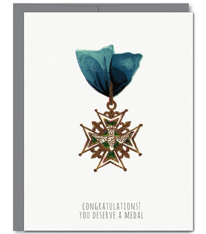 Medal Congratulations Glitter Greeting Card | Sylvan Gate Design