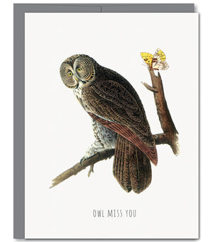 Owl Miss You Glitter Greeting Card | Sylvan Gate Design