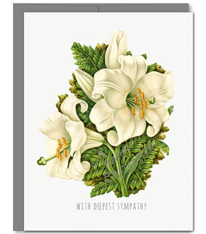 Lily Bouquet Sympathy Glitter Greeting Card | Sylvan Gate Design
