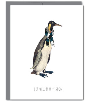 Penguin Get Well Glitter Greeting Card | Sylvan Gate Design