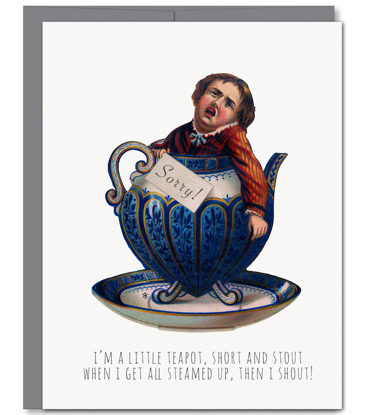Teapot Apology Everyday Glitter Greeting Card | Sylvan Gate Design