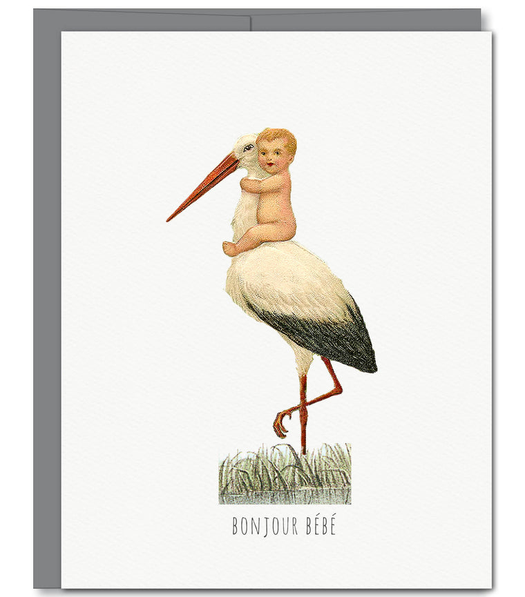 Stork Baby Congratulations Glitter Greeting Card | Sylvan Gate Design