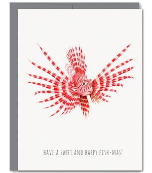 Fish Candy Cane Holiday Glitter Greeting Card | Sylvan Gate Design
