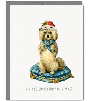 Santa Paws Holiday Glitter Greeting Card | Sylvan Gate Design