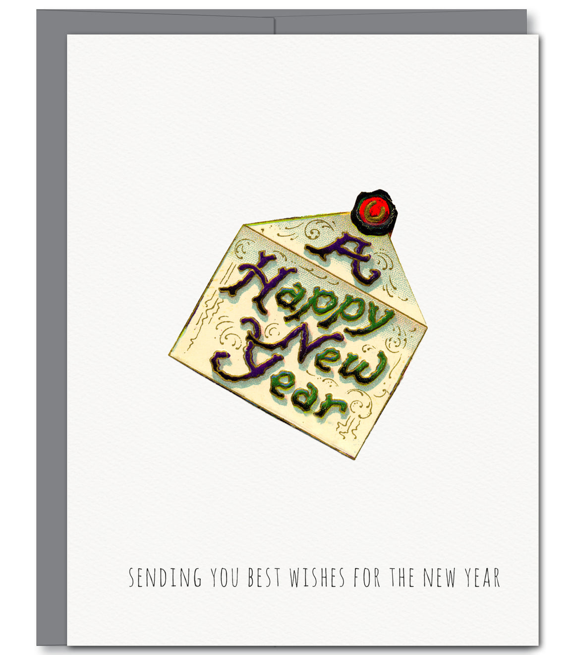 New Year Letter Holiday Glitter Greeting Card | Sylvan Gate Design