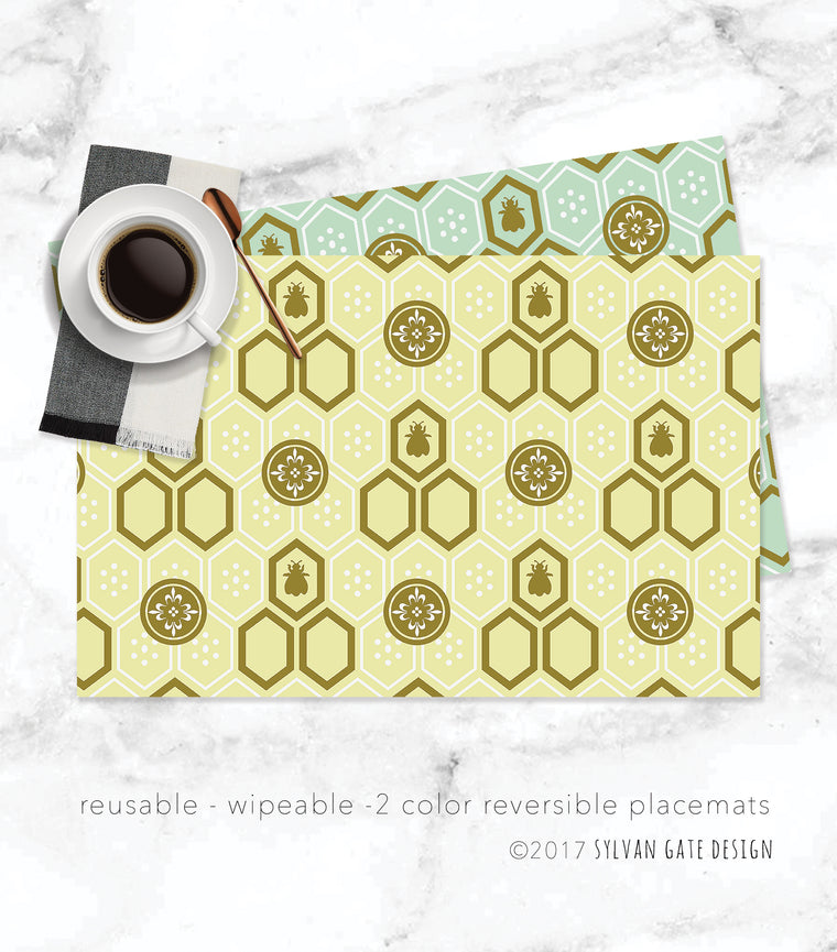 Set of 8 Reusable Reversible Paper Placemats - Napoleon Bee | Sylvan Gate Design