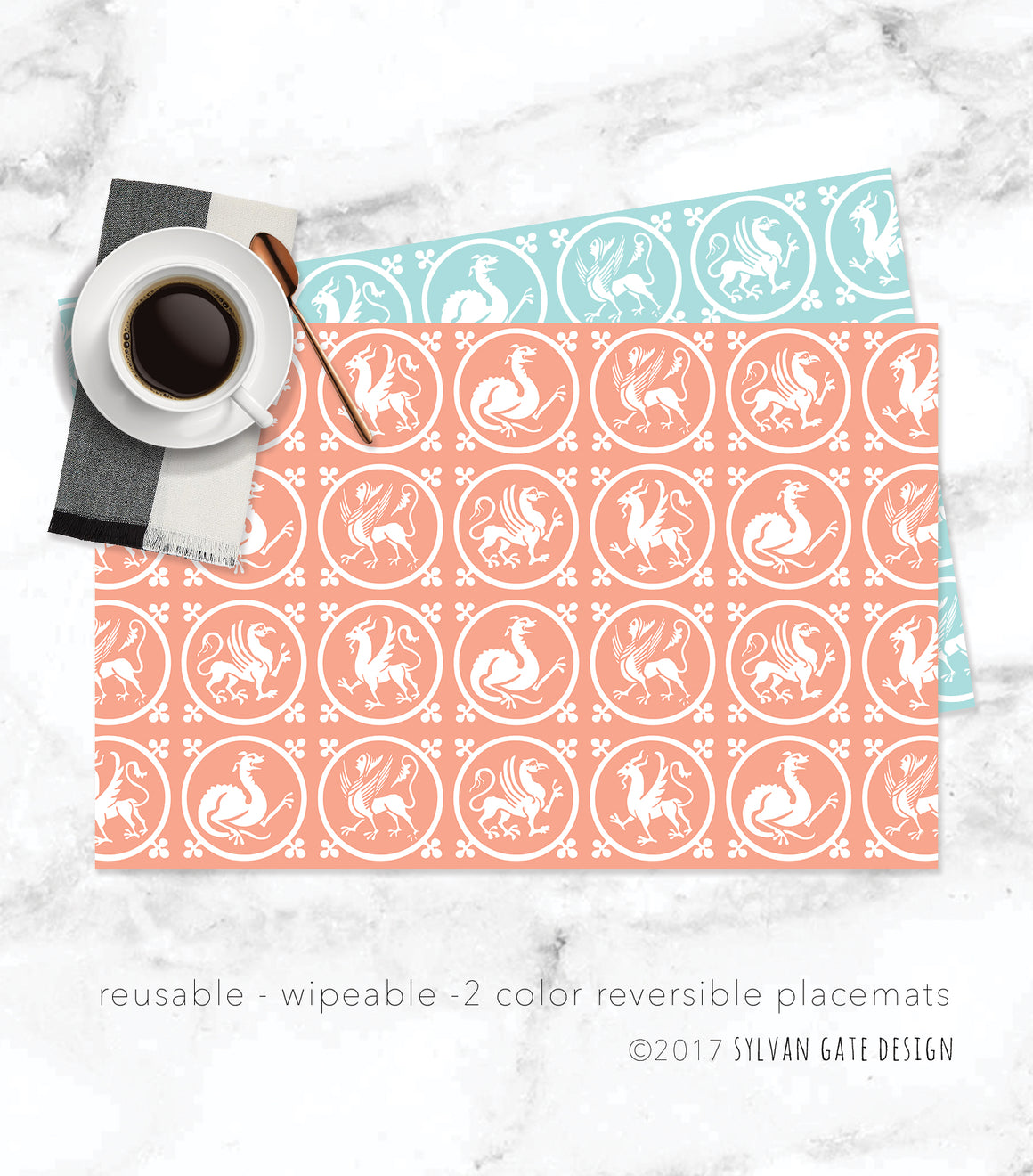 8 Reusable Paper Placemats - Fantastical Beasts | Sylvan Gate Design