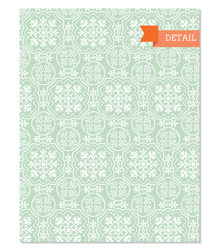 Detail of Snowflakes Holiday Gift Wrap Sheet in Mint Green