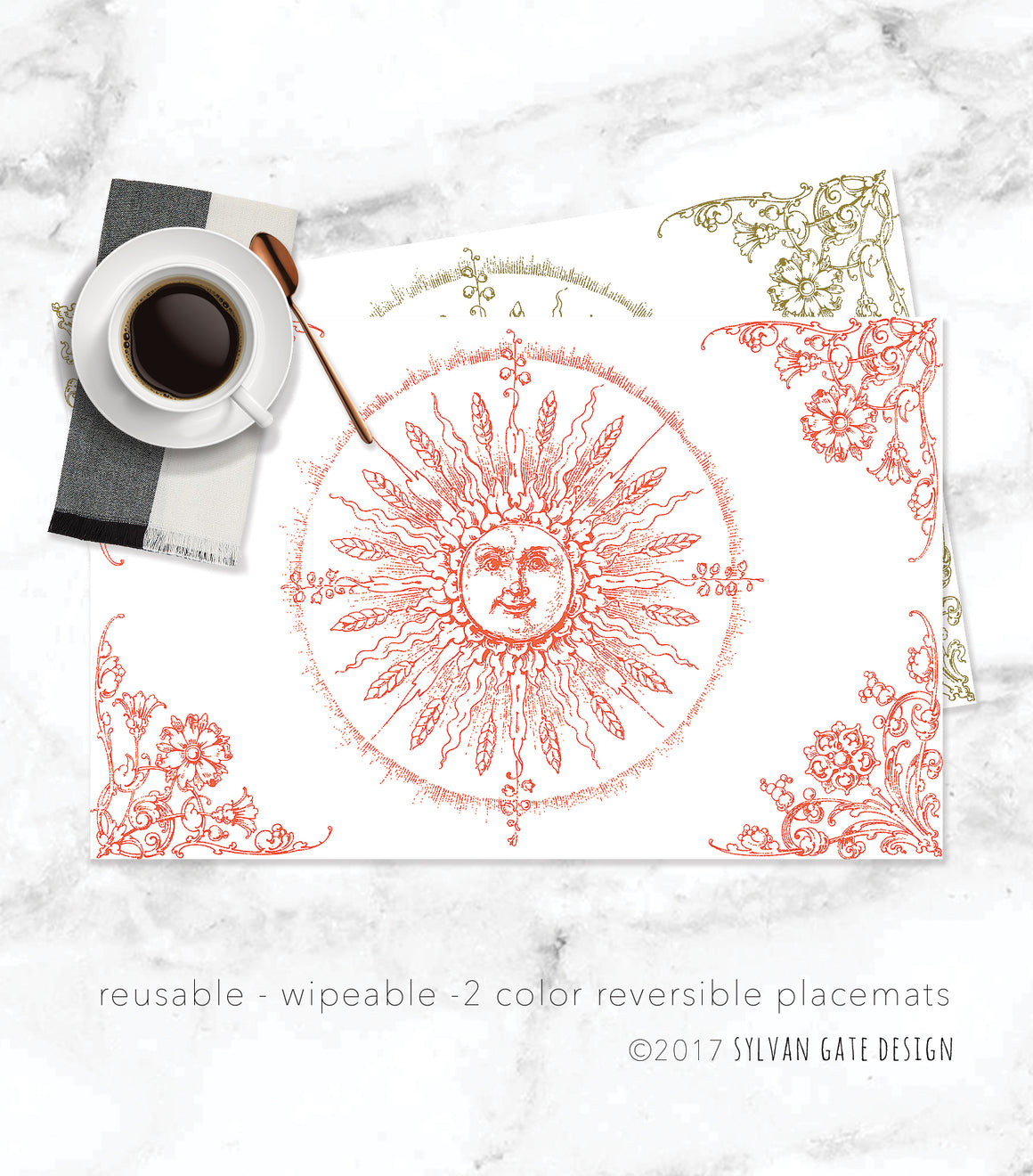 Set of 8 Reusable Reversible Paper Placemats - Helios Sunshine | Sylvan Gate Design