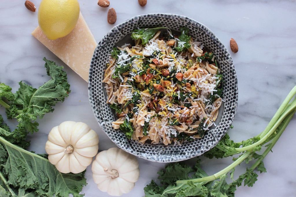 Brown Butter Rotini with Kale, Hazelnuts, and Parmigiano