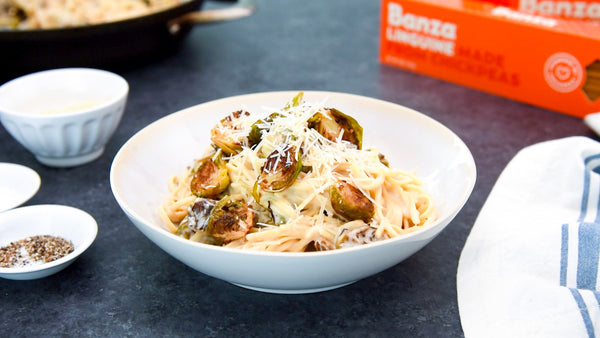 Linguine with White Wine Garlic Sauce and Brussels Sprouts