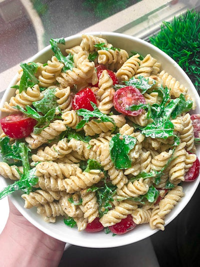 Banza Pasta Salad with Tangy Goat Cheese Dressing