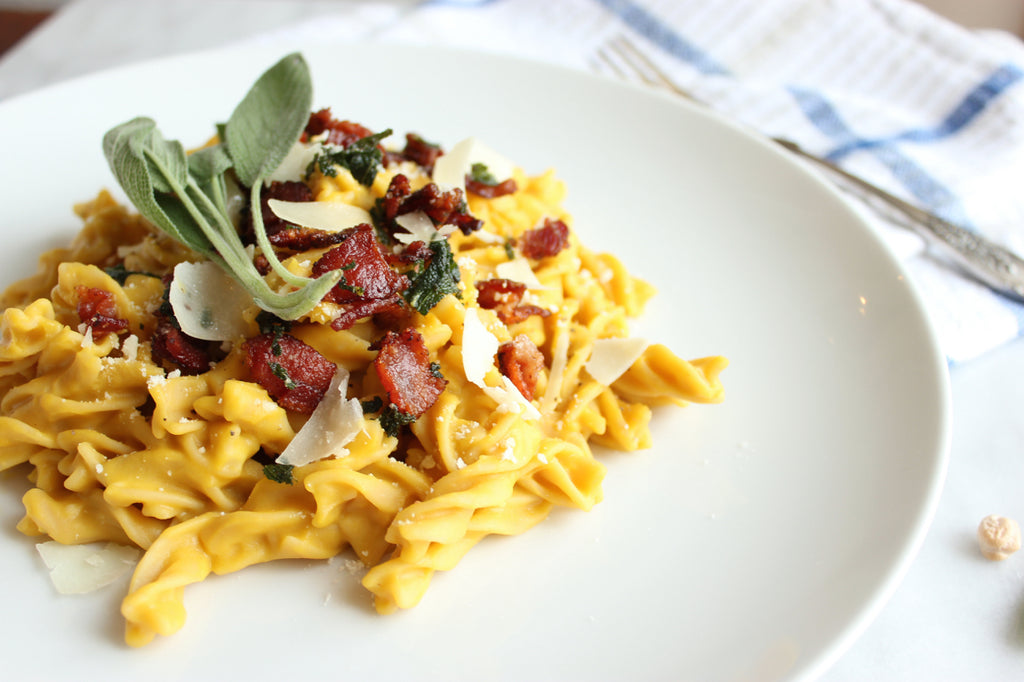 Butternut Squash Carbonara with Sage-Maple Bacon