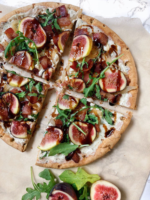 Goat Cheese & Arugula Pizza w/ Balsamic, Fig, and Mushrooms