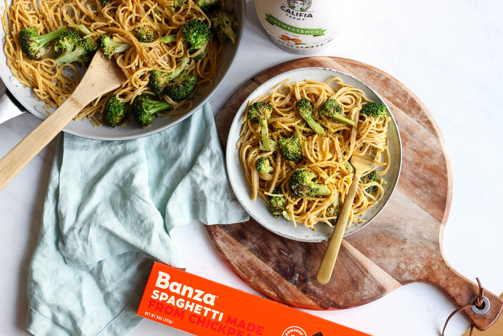 Creamy Spaghetti with Lemon Garlic Broccoli