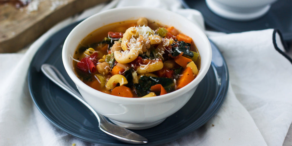 Chickpea Pasta and Kale Minestrone Soup