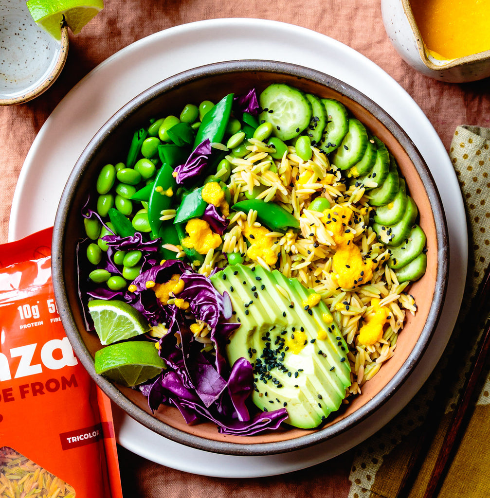 Chickpea Rice Bowl with Carrot-Ginger Dressing