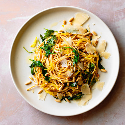 Spaghetti with Golden Beets + Greens