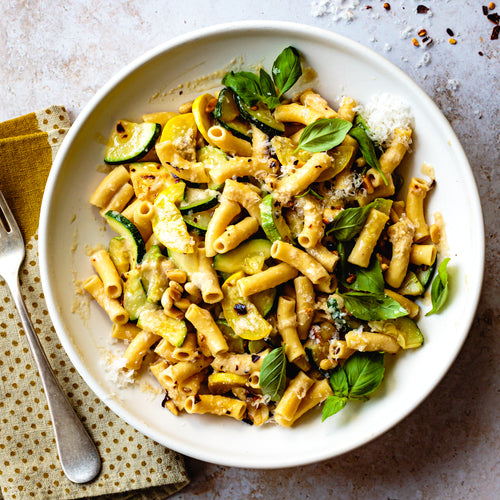 Ziti with Summer Squash + Basil