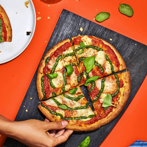 RED SAUCE & PESTO PIZZA WITH FRESH MOZZARELLA