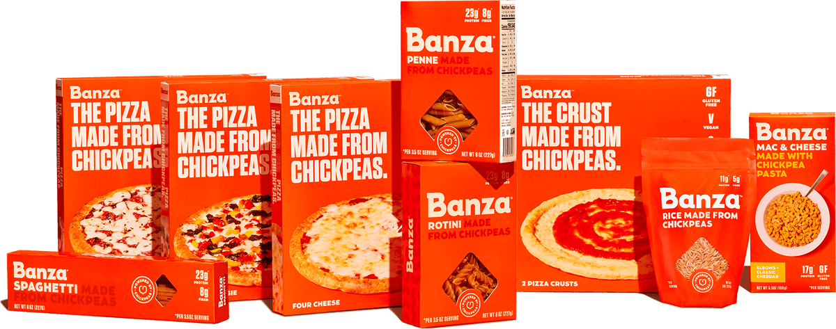 Assortment of different Banza product boxes