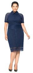 Navy collared plus size dress