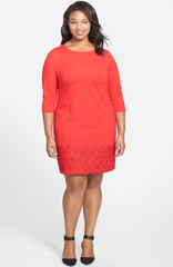 Red Plus size shift dress