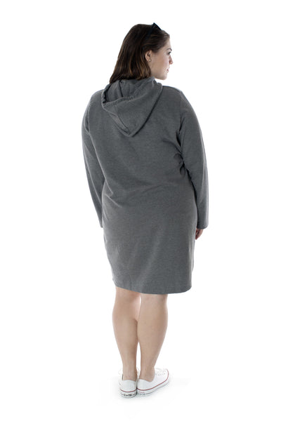 Grey Hooded Sweat Dress