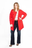 Red Knee-Length Jacket