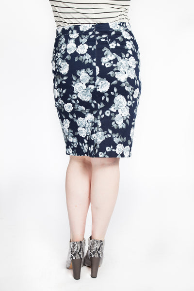 Rose Print Pencil Skirt