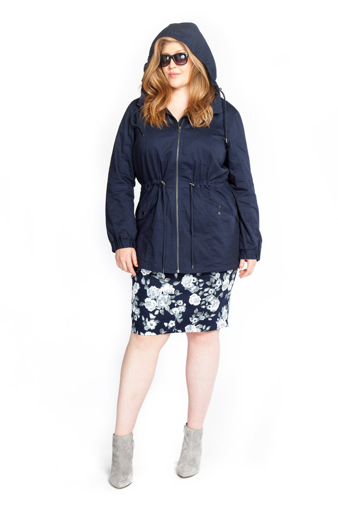 Navy Hooded Anorak Style Jacket